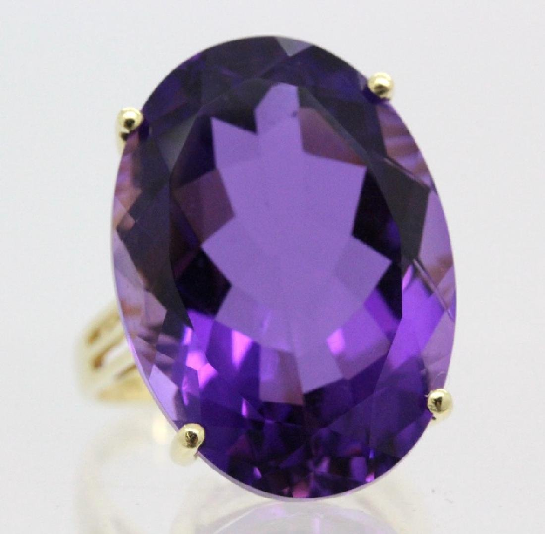 Vintage 14k Gold 25 Ct Deep Purple Amethyst Ring - 2