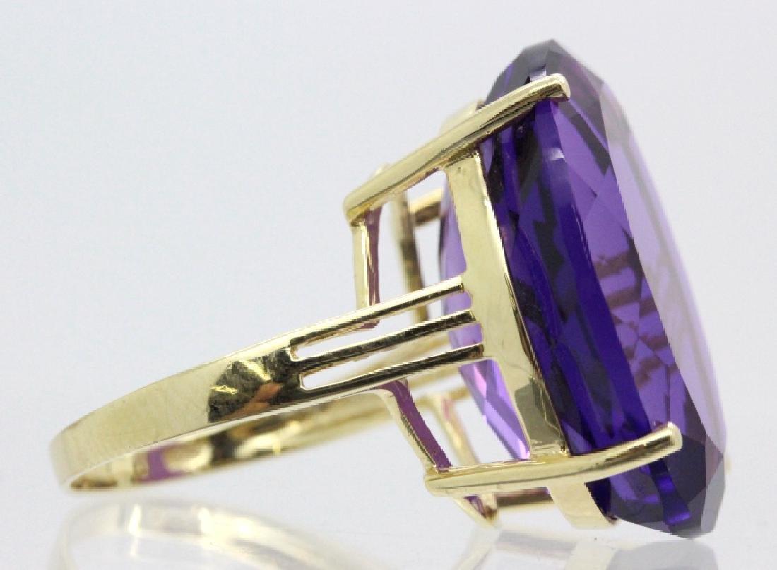 Vintage 14k Gold 25 Ct Deep Purple Amethyst Ring - 3