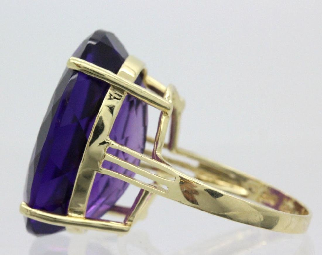Vintage 14k Gold 25 Ct Deep Purple Amethyst Ring - 4