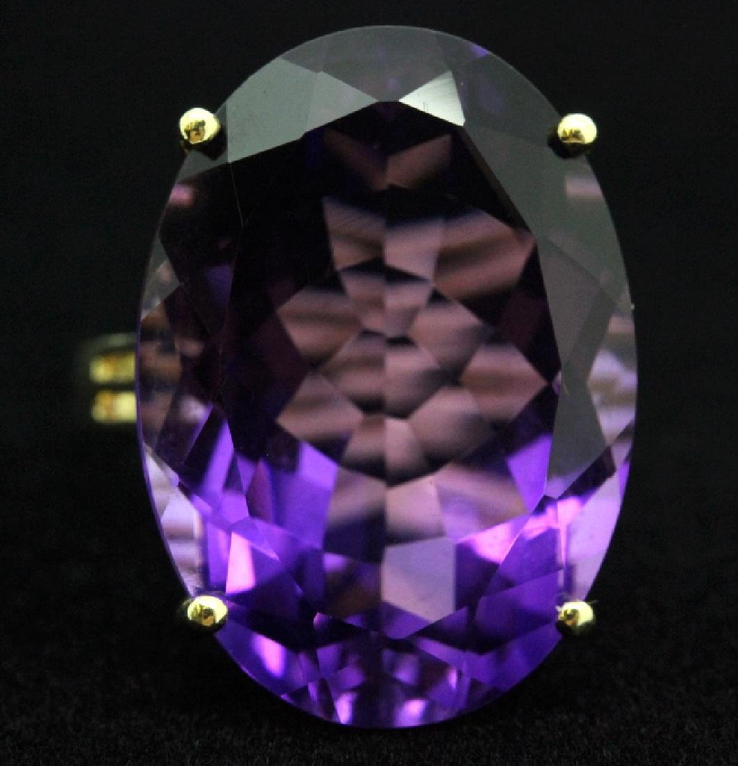 Vintage 14k Gold 25 Ct Deep Purple Amethyst Ring - 7