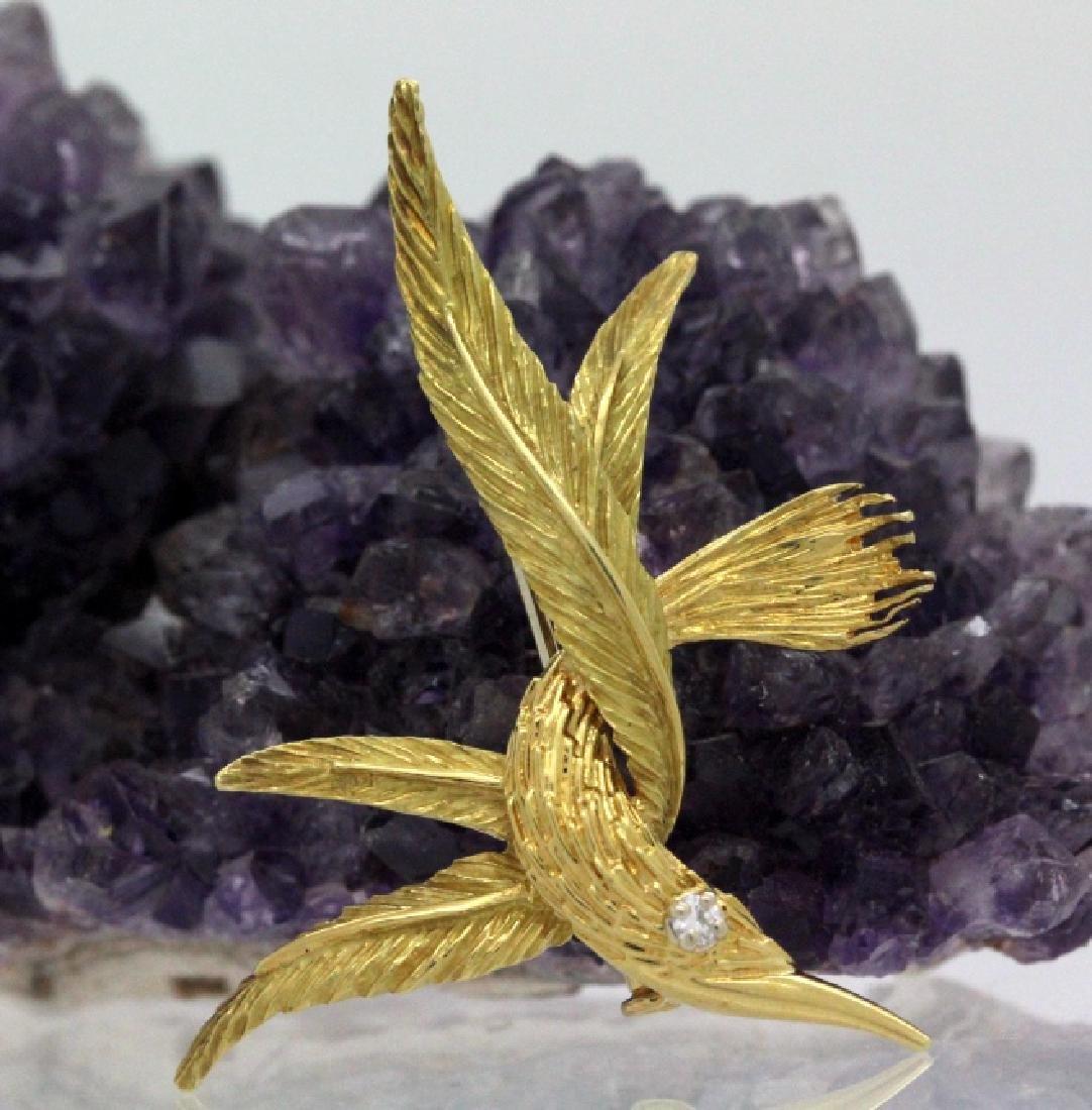Signed RICHARD FRANCE 18k Diamond Feather Brooch