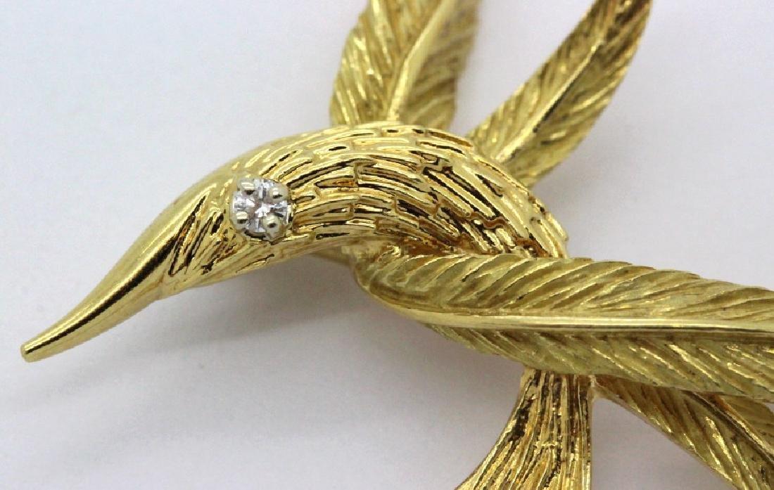 Signed RICHARD FRANCE 18k Diamond Feather Brooch - 3