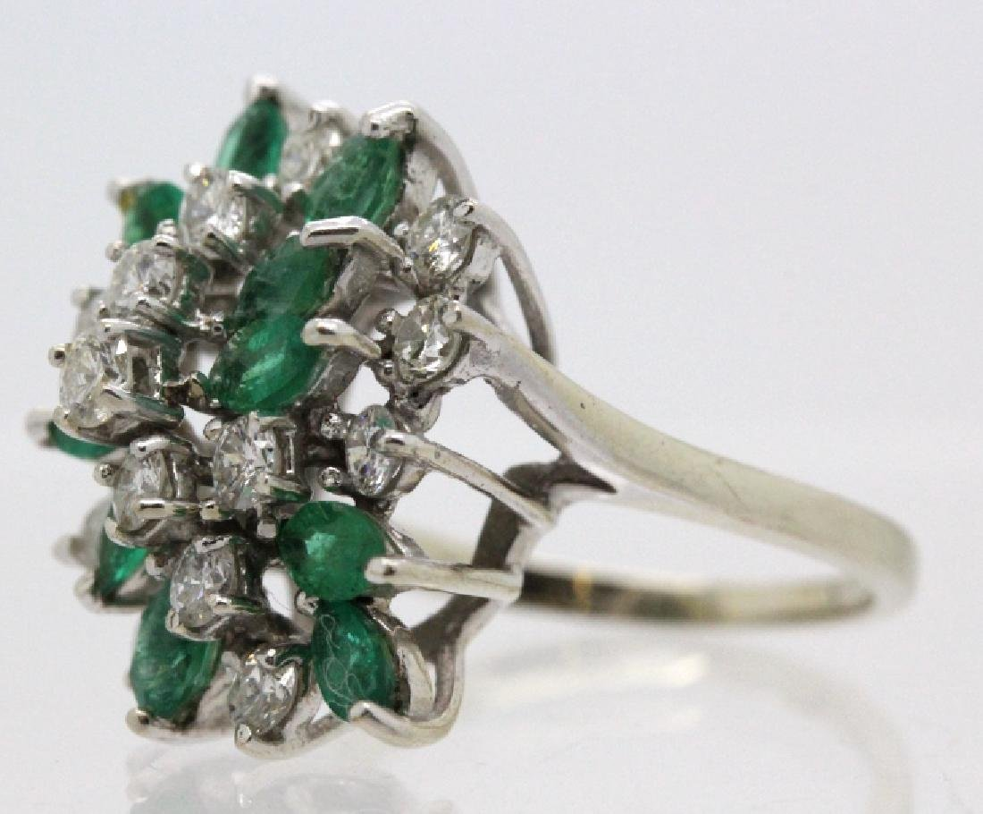 Retro Period 14k Diamond & Emerald Waterfall Ring - 3