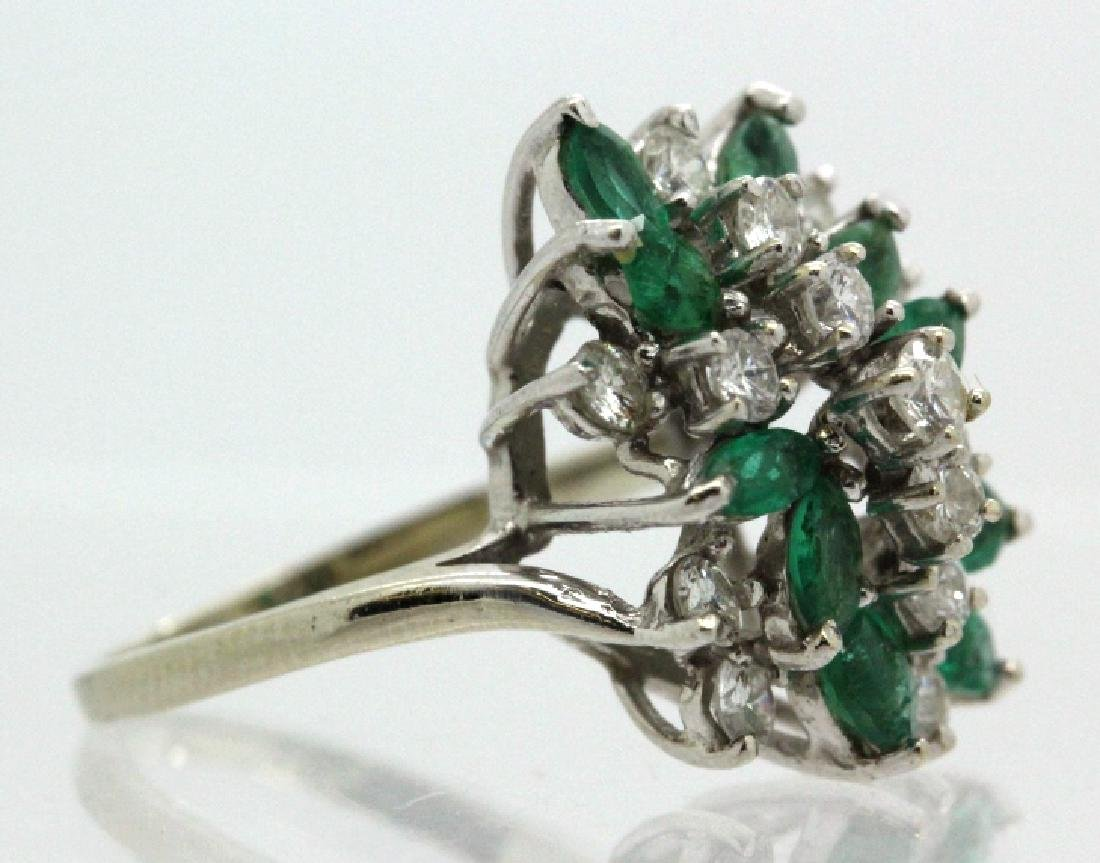 Retro Period 14k Diamond & Emerald Waterfall Ring - 4