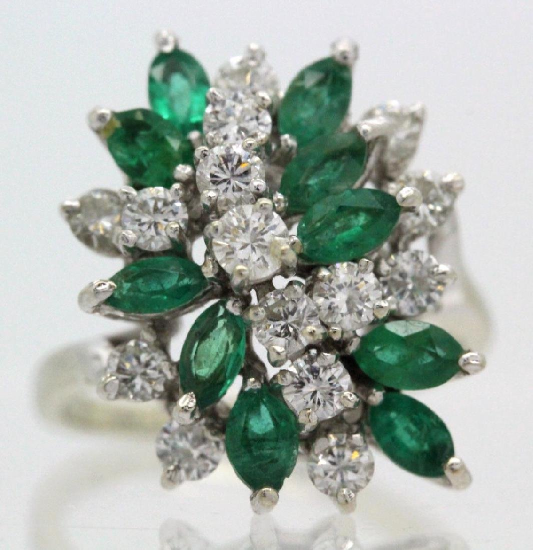 Retro Period 14k Diamond & Emerald Waterfall Ring - 5
