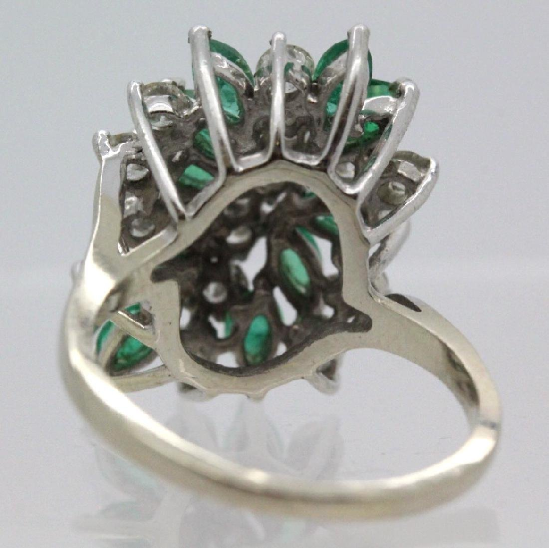 Retro Period 14k Diamond & Emerald Waterfall Ring - 6