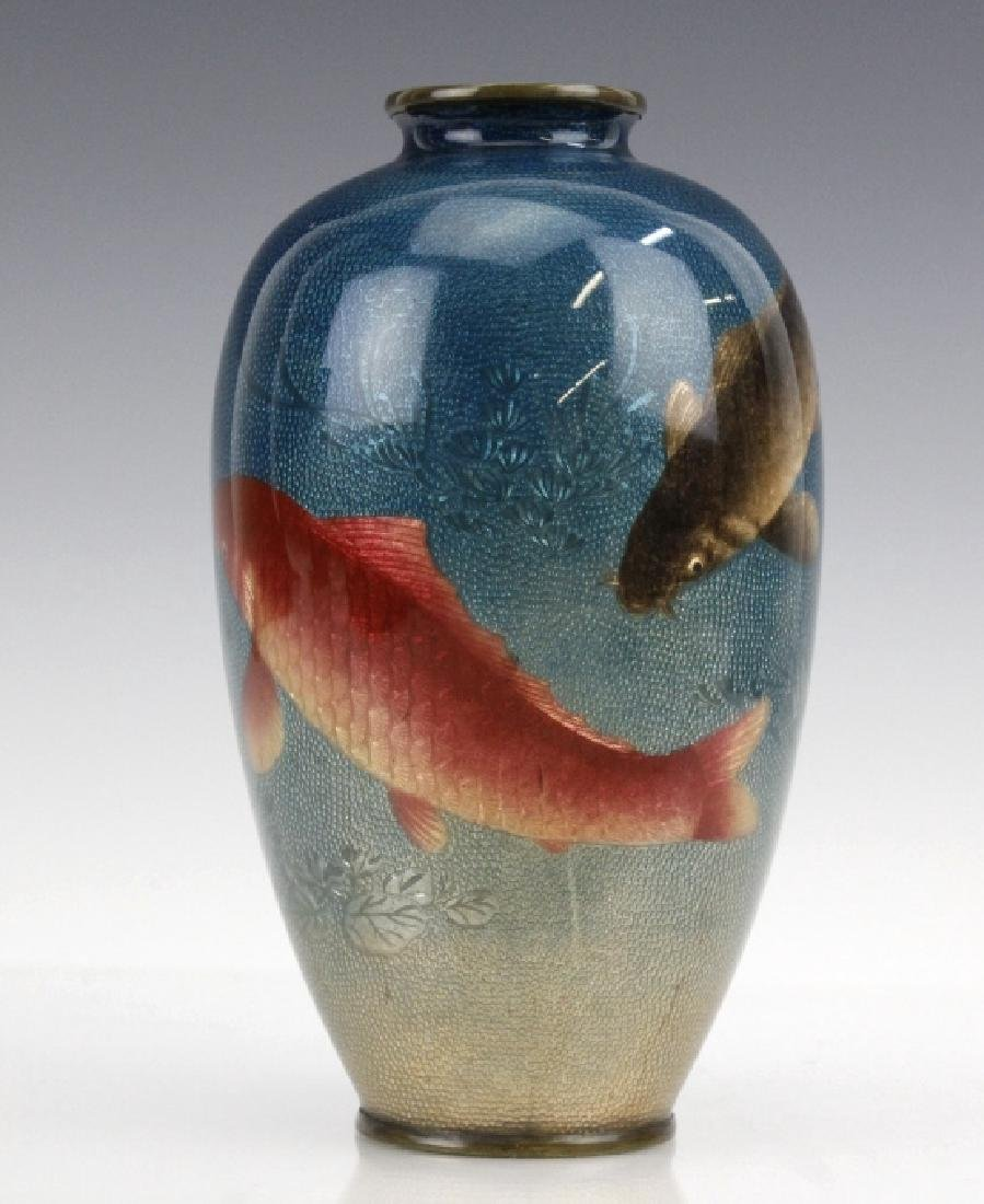 Japanese Two Tone Cloisonne Enamel Koi Fish Vase