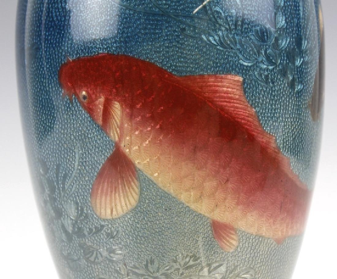 Japanese Two Tone Cloisonne Enamel Koi Fish Vase - 2