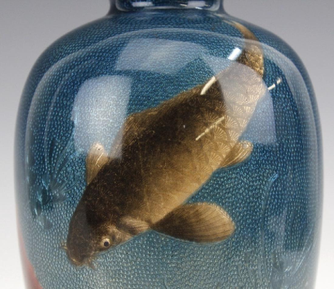 Japanese Two Tone Cloisonne Enamel Koi Fish Vase - 3