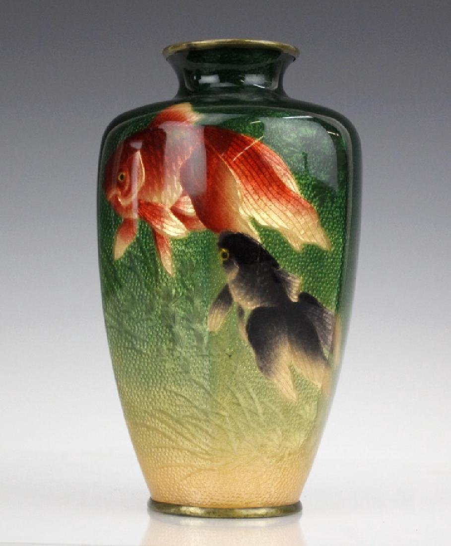 Musen Enamel Koi Fish Vase by Kumeno Teitaro