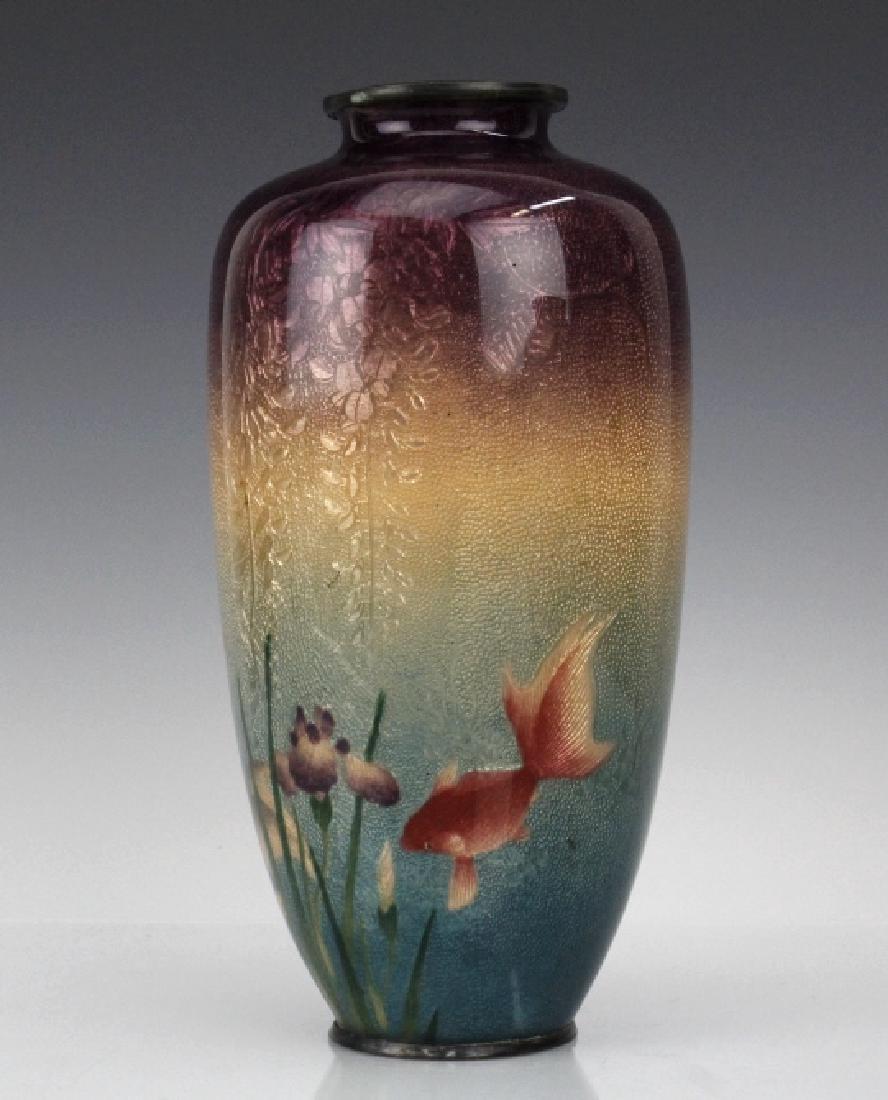 Musen Enamel Koi Fish Vase by Ogasawaro Shuzo - 5