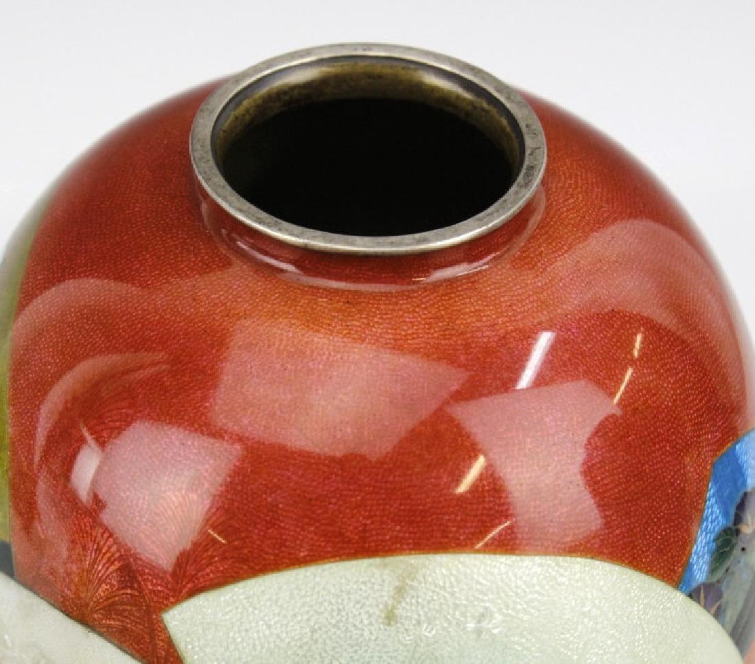 Japanese Cloisonne Enamel Vase Meiji Period - 7