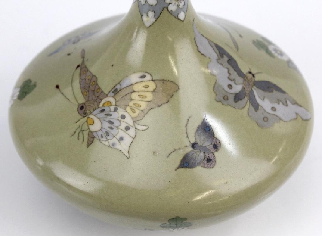 Meiji Japanese Enamel Cloisonne Butterfly Bud Vase - 2