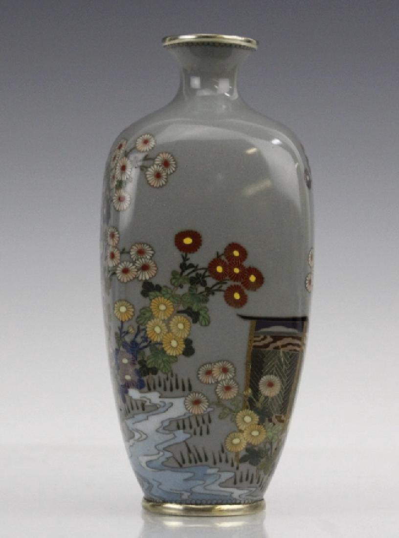 Japanese Sterling Cloisonne Enamel Floral Bud Vase