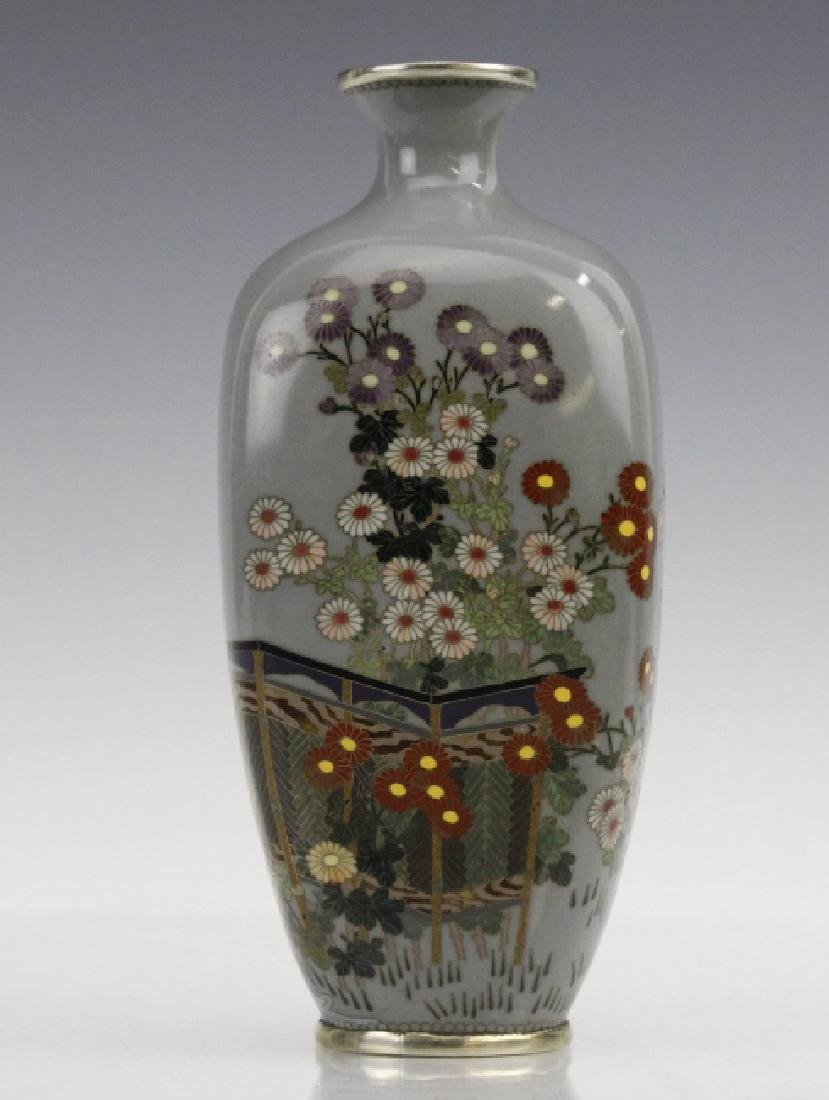 Japanese Sterling Cloisonne Enamel Floral Bud Vase - 2