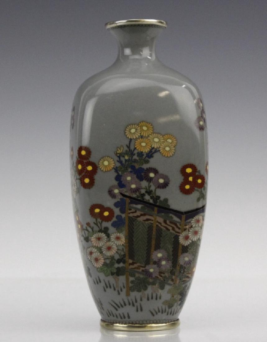 Japanese Sterling Cloisonne Enamel Floral Bud Vase - 3