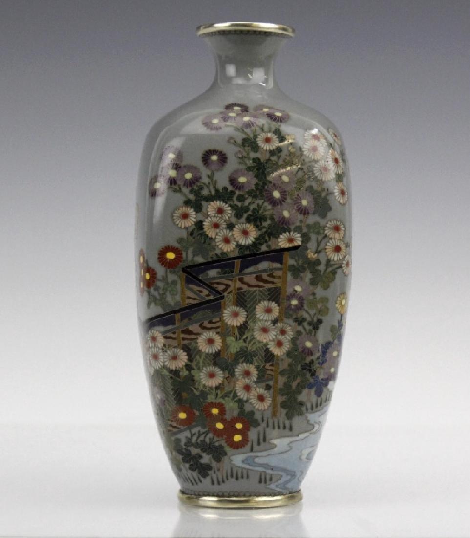Japanese Sterling Cloisonne Enamel Floral Bud Vase - 4