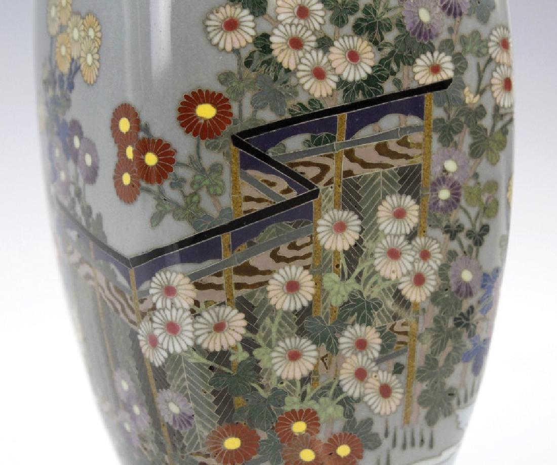Japanese Sterling Cloisonne Enamel Floral Bud Vase - 5