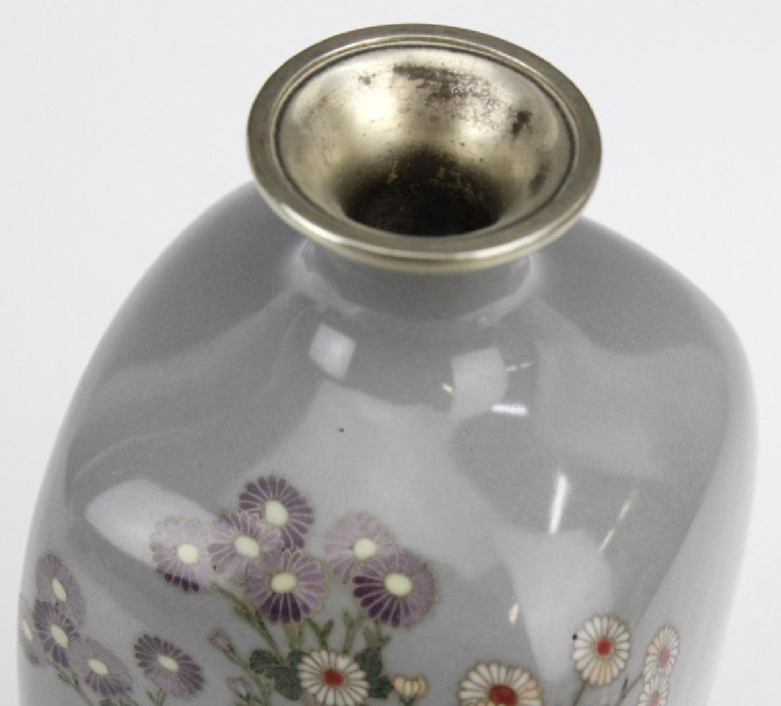 Japanese Sterling Cloisonne Enamel Floral Bud Vase - 6