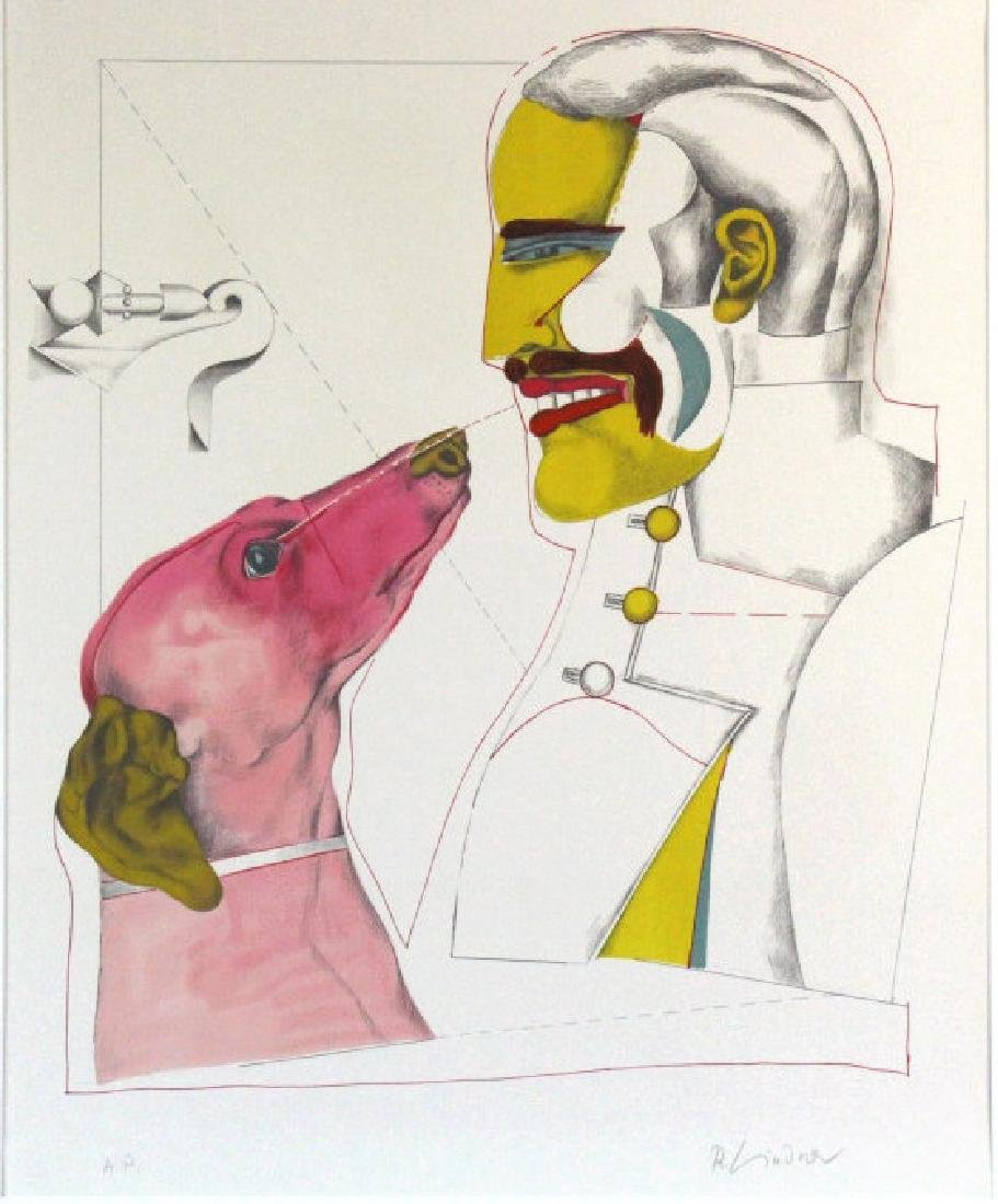Signed Richard Lindner Man & Dog AP Litho BASS MUSEUM