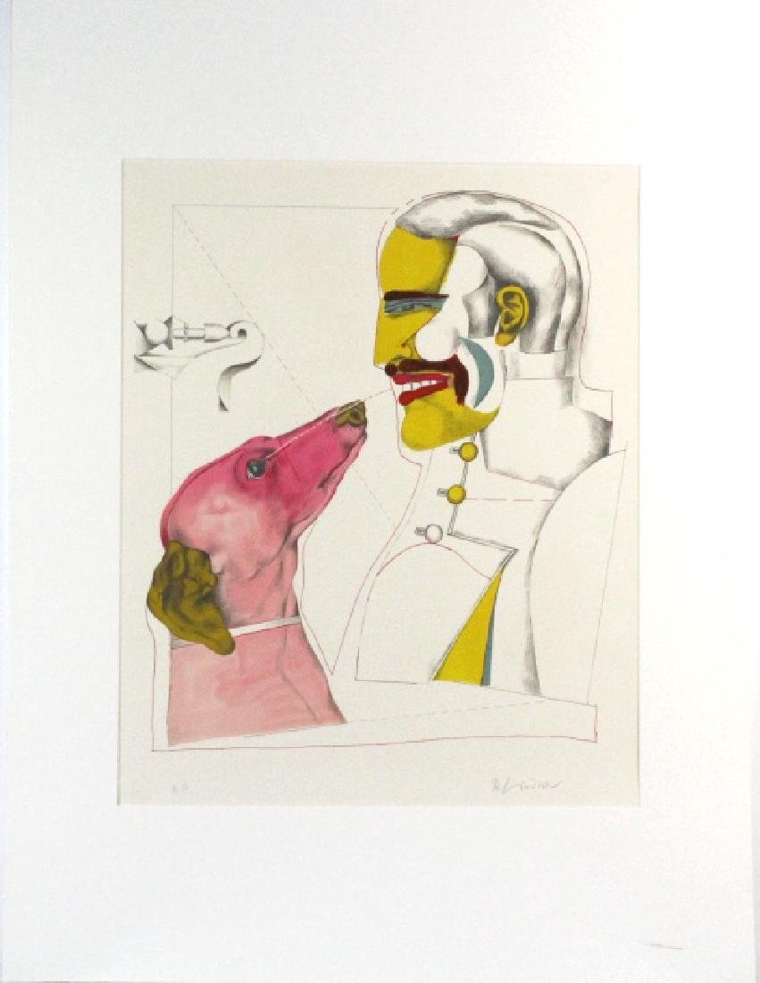 Signed Richard Lindner Man & Dog AP Litho BASS MUSEUM - 2