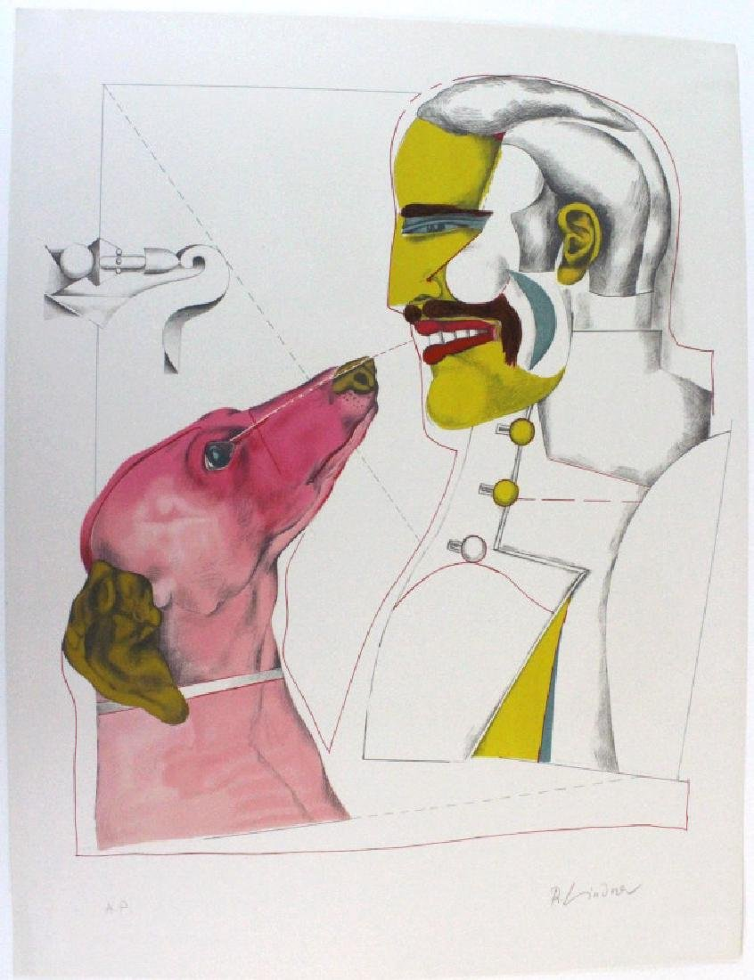Signed Richard Lindner Man & Dog AP Litho BASS MUSEUM - 6