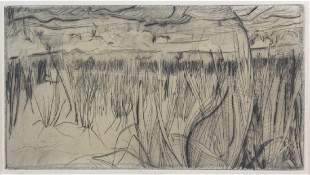 Signed Fred Albert Drypoint Etching from BASS MUSEUM