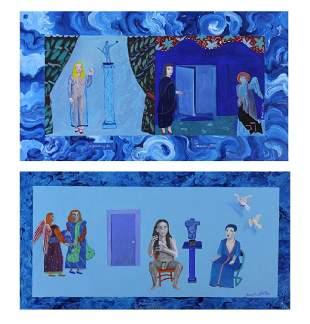 2 Original Signed Joseph Hiltons Painting BASS MUSEUM