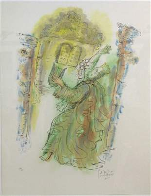 Reuven Rubin Signed Litho King David from BASS MUSEUM