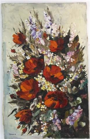 L. Gurar Still Life Poppies Oil Painting BASS MUSEUM
