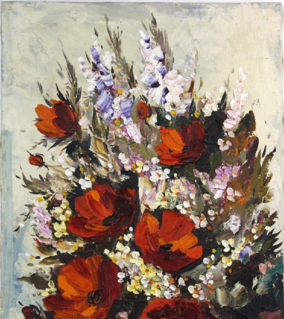 L. Gurar Still Life Poppies Oil Painting BASS MUSEUM - 2