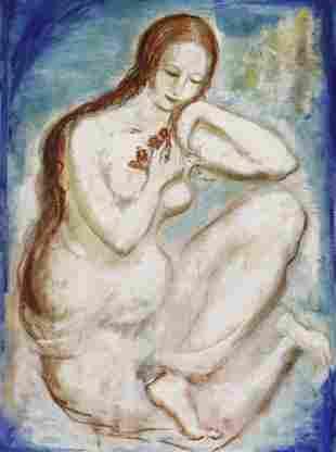 Louis Slobodkin Modern Female Nude Painting BASS MUSEUM