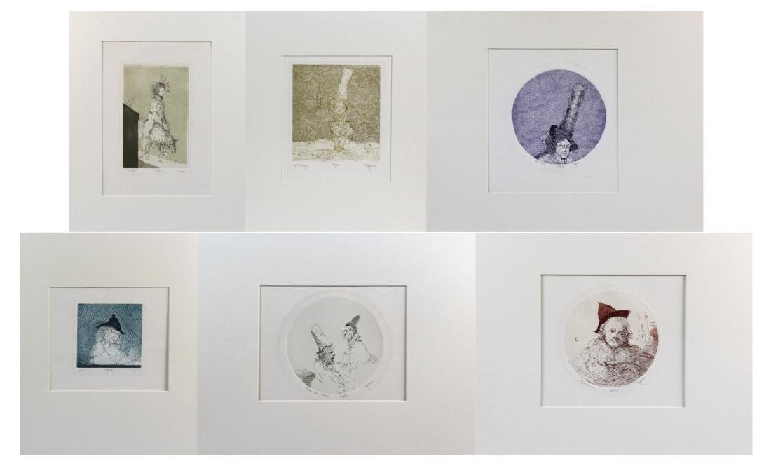 LOT of 6 Cincent Capraro Signed Etchings BASS MUSEUM