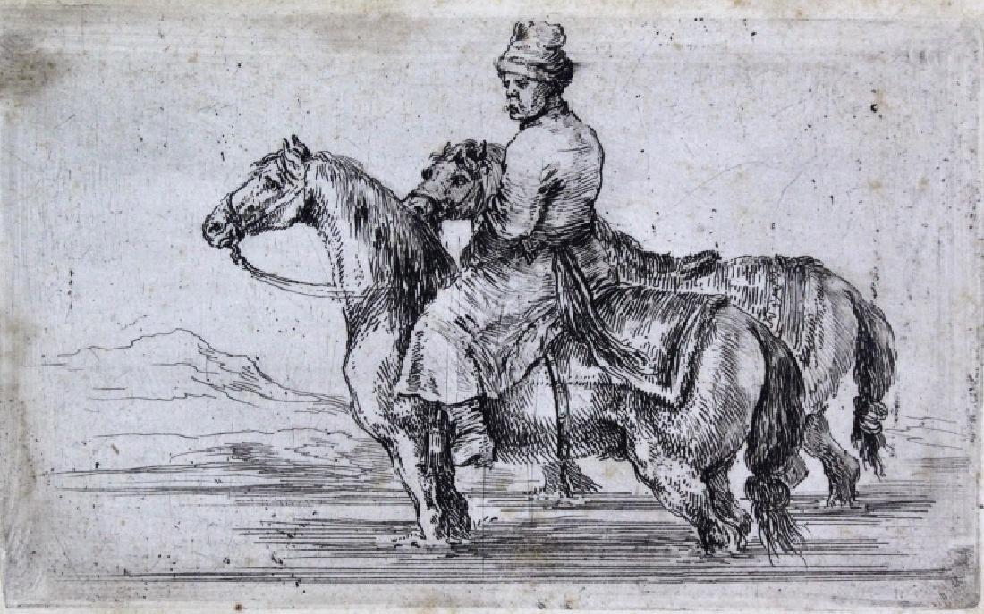 Stefano Della Bella Horseback Etching.from BASS MUSEUM