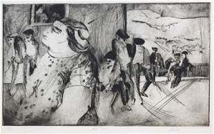 Signed Fred Albert Etching Old Men Sardinia BASS MUSEUM