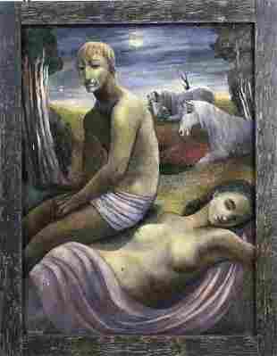 Christine Bacheler Nisbet Surrealist Nude Oil Painting