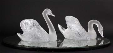PAIR of Lalique Crystal Art Glass Swans w/ Mirror