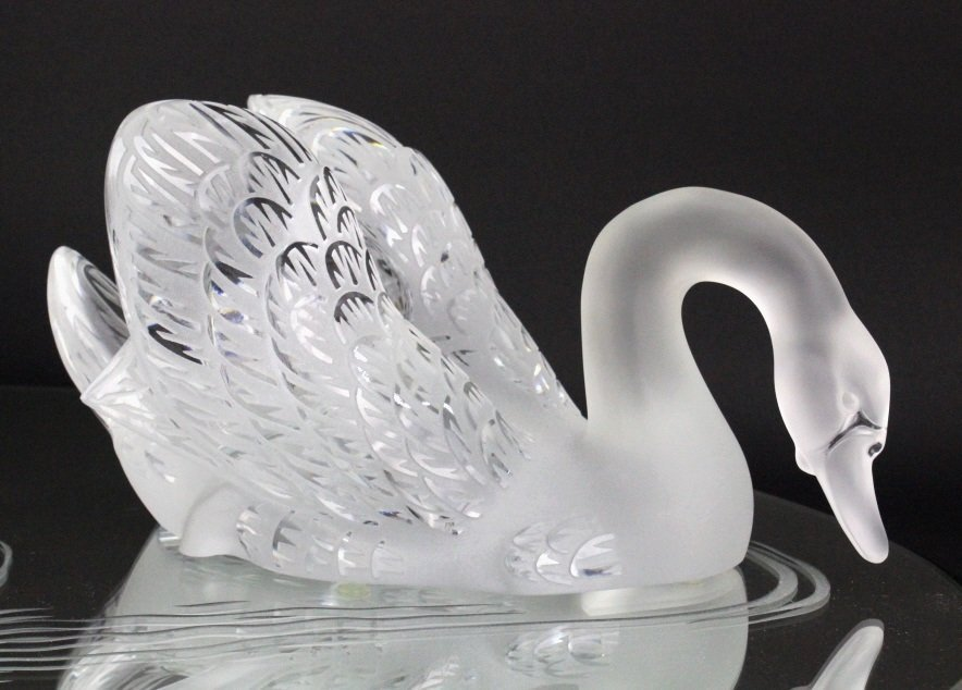 PAIR of Lalique Crystal Art Glass Swans w/ Mirror - 3
