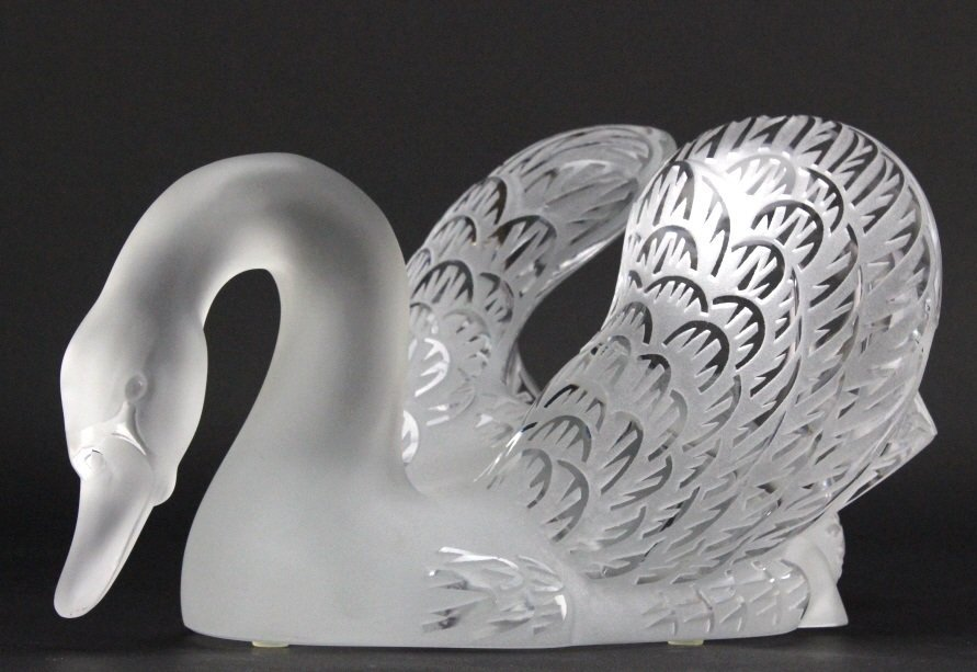 PAIR of Lalique Crystal Art Glass Swans w/ Mirror - 7