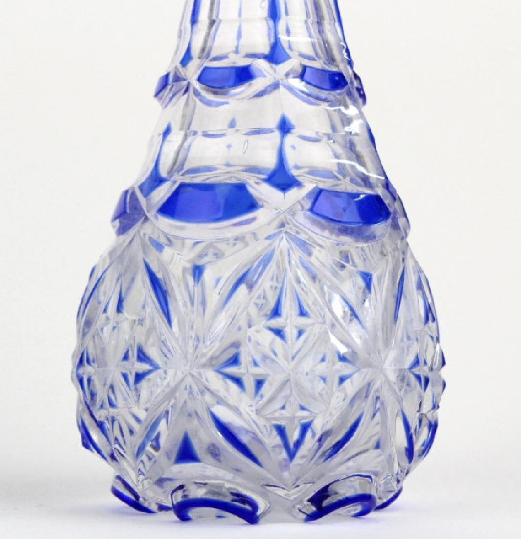 "Antique Cobalt Blue Cut To Clear 8"" Crystal Cruet - 3"