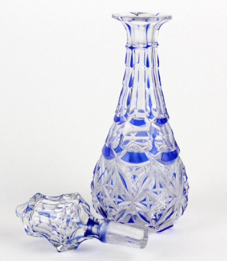 "Antique Cobalt Blue Cut To Clear 8"" Crystal Cruet - 5"