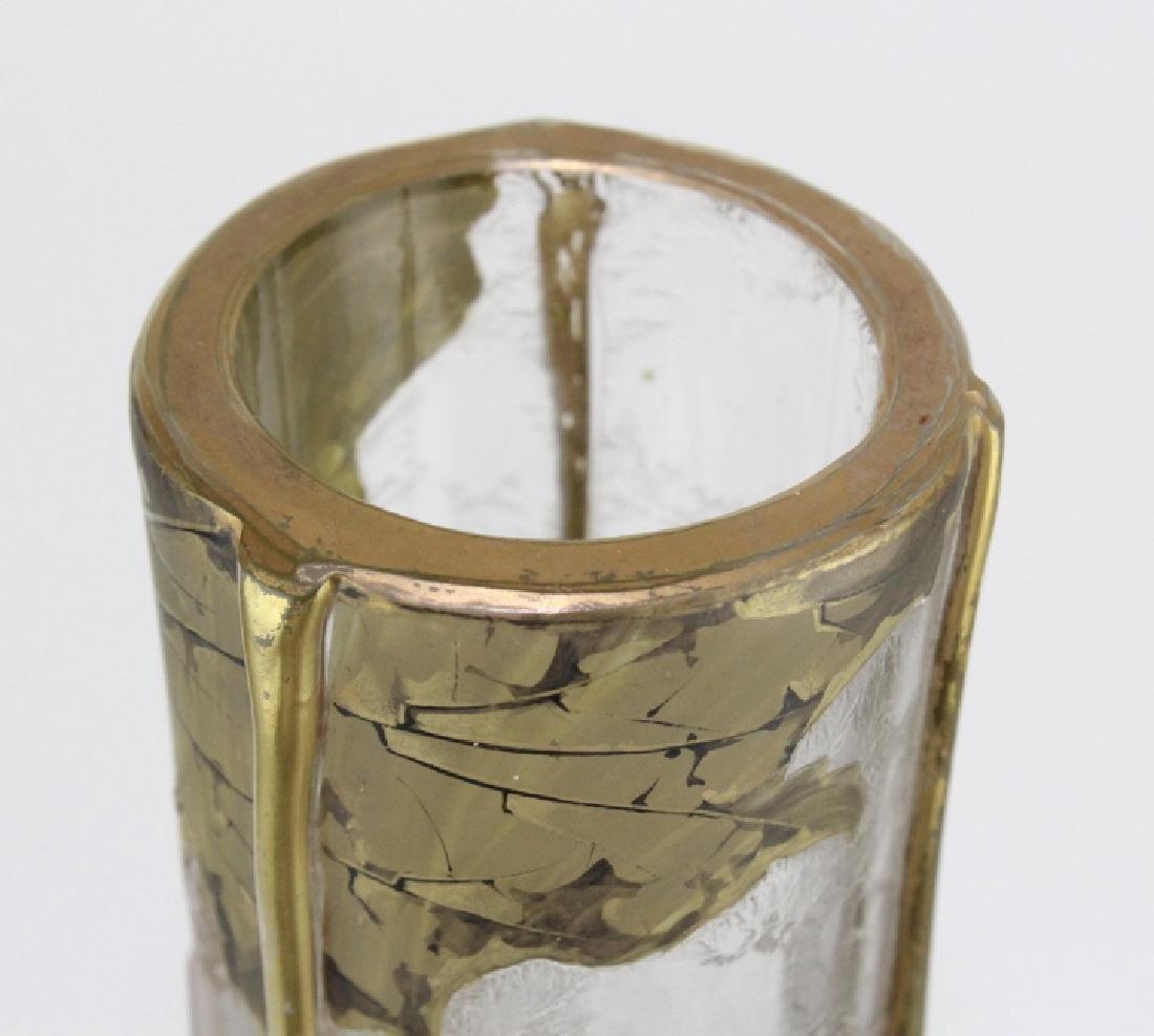 Signed Mount Joye Enameled Art Nouveau Glass Vase - 3
