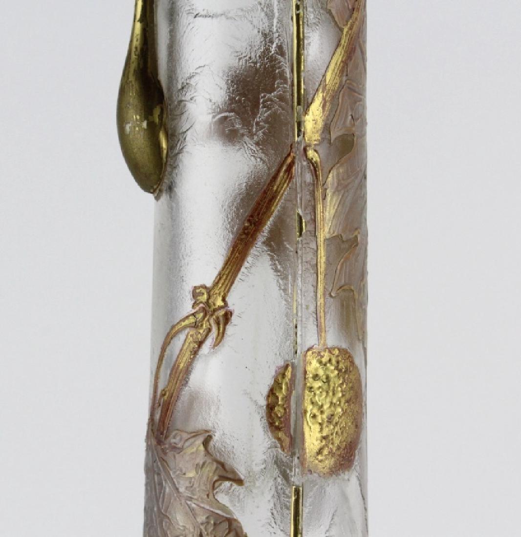 Signed Mount Joye Enameled Art Nouveau Glass Vase - 4