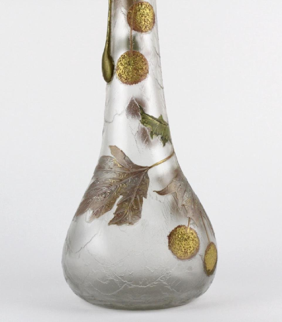 Signed Mount Joye Enameled Art Nouveau Glass Vase - 5
