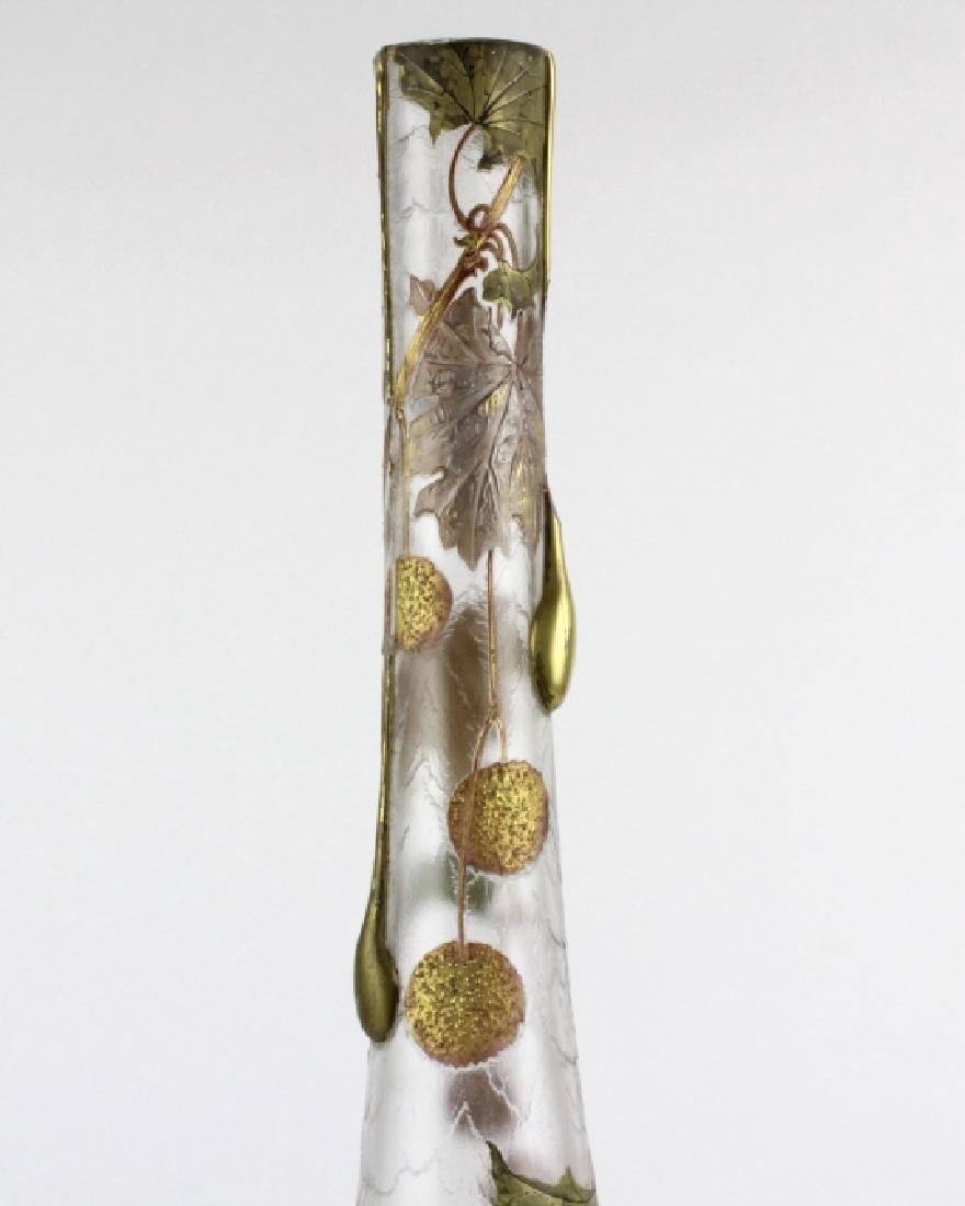 Signed Mount Joye Enameled Art Nouveau Glass Vase - 6