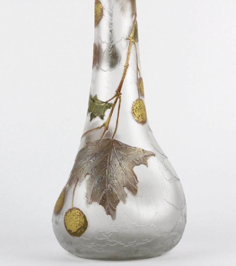Signed Mount Joye Enameled Art Nouveau Glass Vase - 7