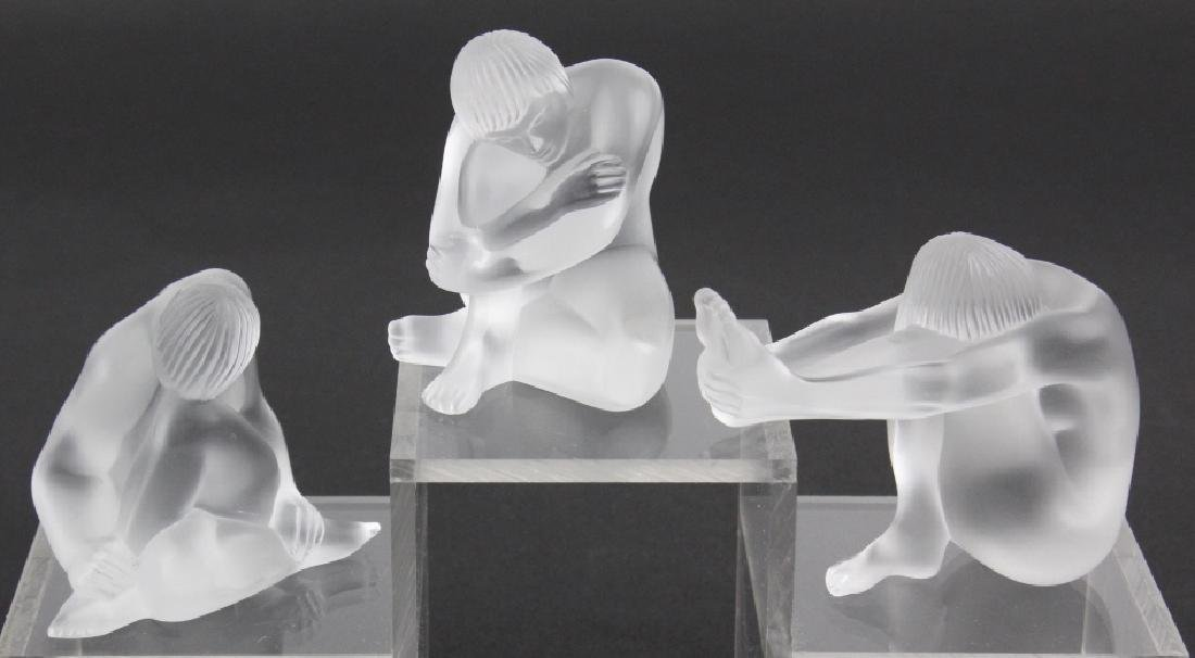 LOT of 3 Lalique French Art Glass Nude Figurine