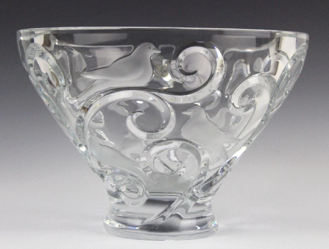 LARGE Lalique French Art Glass VERONE Bird Bowl - 4