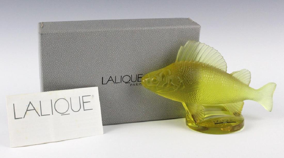 LALIQUE France Yellow Perche (Perch) Fish Figurine