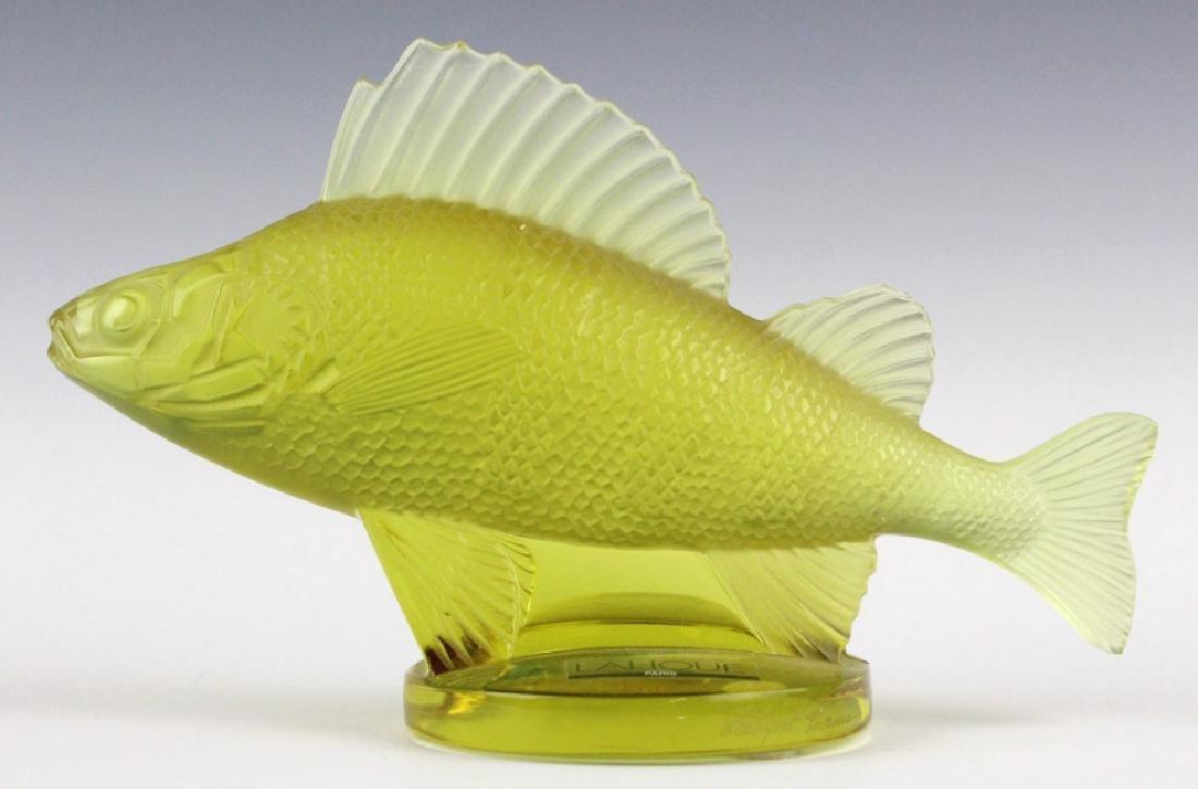 LALIQUE France Yellow Perche (Perch) Fish Figurine - 3